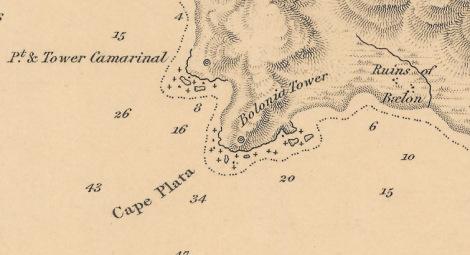 "Detalle cartográfico de Punta Camarinal (1833). Fuente: ""The Strait of Gibraltar"" by Capitain William Henry Smyth, R.N.K.S.F.; J & C Walker Sculpt. Hydrographical Office of the Admiralty (Londres), 1833. Mapa extraído del blog de un amigo: dRuta."