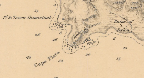 "Detalle cartográfico de Punta Camarinal (1833). Fuente: ""The Strait of Gibraltar"" by Capitain William Henry Smyth, R.N.K.S.F.; J & C Walker Sculpt. Hydrographical Office of the Admiralty (Londres), 1833. Mapa extraído del blog de un amigo: dRuta."